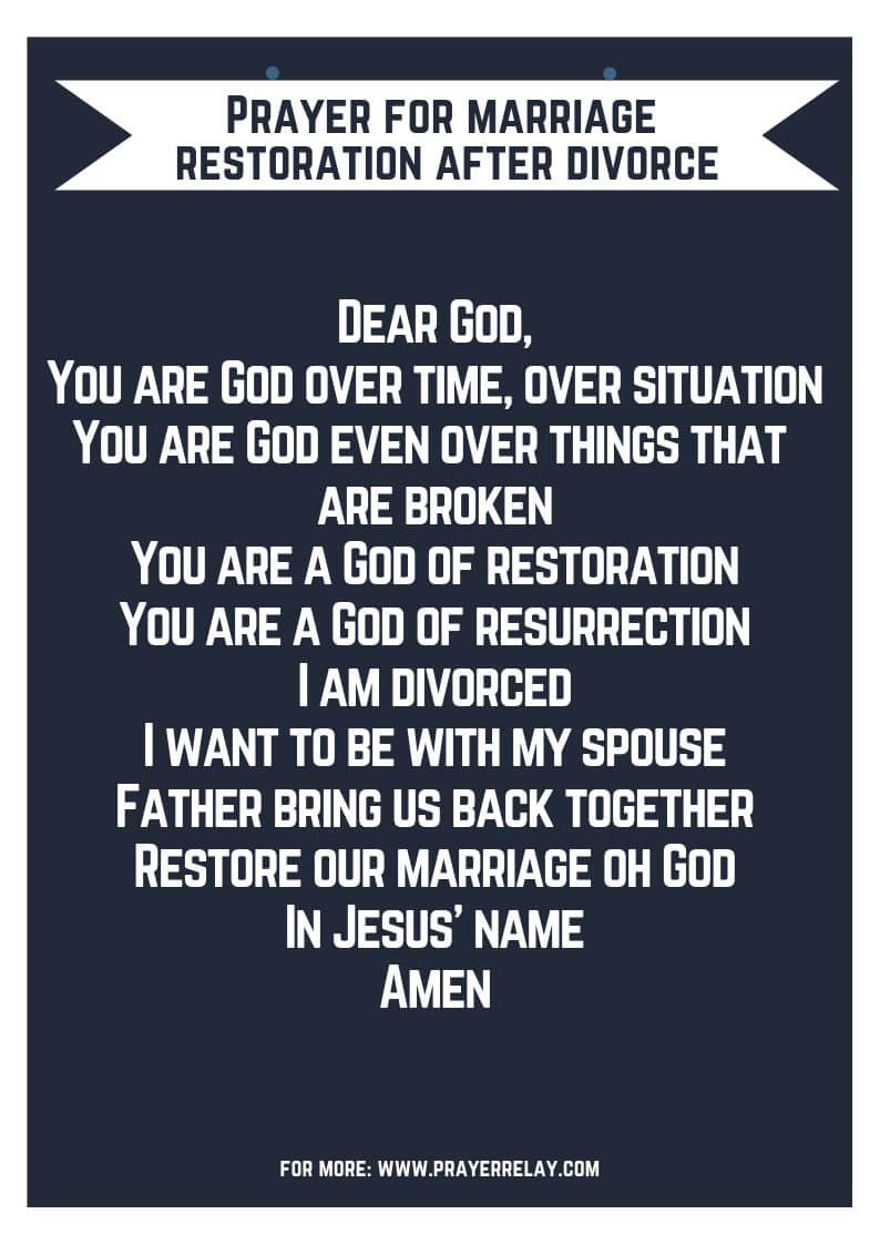 Prayer for marriage restoration after divorce